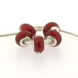 Perle en résine à facettes rouges brillantes style Pandora - à l'unité