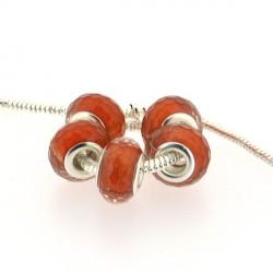 Perle en résine à facettes oranges brillantes style Pandora - à l'unité