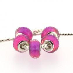 Perle en résine à facettes roses fuchsia brillantes style Pandora - à l'unité
