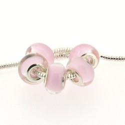 Perle en résine rose pastel style Pandora - à l'unité