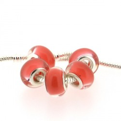 Perle en résine rouge pastel style Pandora - à l'unité