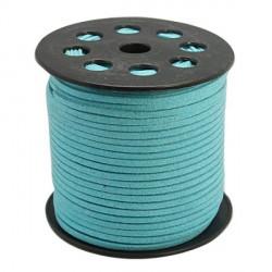 Cordon suédine bleu Turquoise brillant 3 mm ø