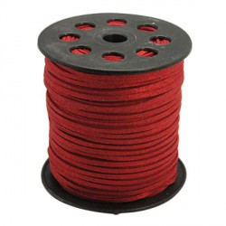 Cordon suédine Rouge brillant 3 mm ø