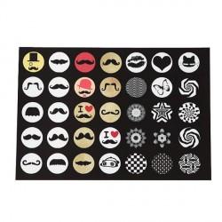 Planche d'images Moustaches pour cabochon rond 14 mm