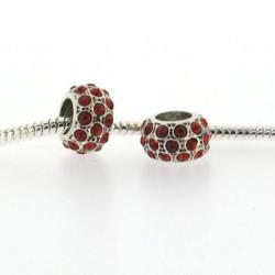 Métal petit Shamballah strass rouge style Pandora - à l'unité
