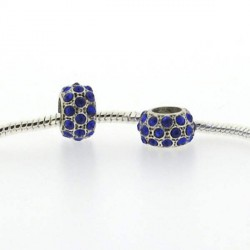 Métal petit Shamballah strass bleu style Pandora - à l'unité