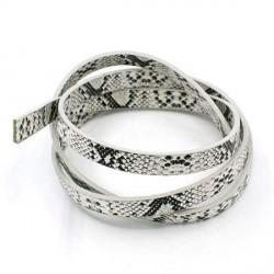 Cordon en simili cuir, imitation peau de serpent blanc