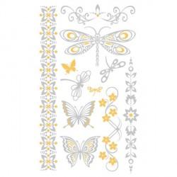 Tatouage temporaire Tattoo Chic - Papillons argentés