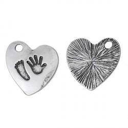 Pendentif breloque en métal Coeur avec Pied et Main