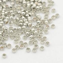 Perles à écraser 2 mm, argentées - 1000 pièces