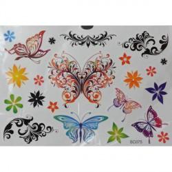 Tatouage temporaire Tattoo Papillons Colorés sachet