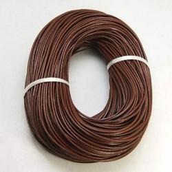 Cordon en cuir, marron 2 mm ø - au mètre