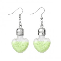 Boucles d'oreilles Pendant Globe Coeur en verre avec Microbilles vertes