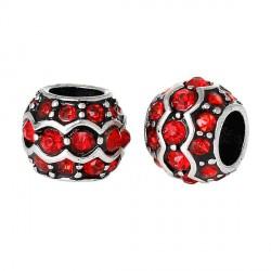Métal Anneau double strass rouge style Pandora - à l'unité
