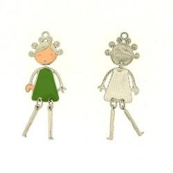Pendentif breloque Jeune Fille en robe verte