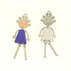 Pendentif breloque Jeune Fille en robe violette, argenté