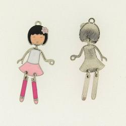 Pendentif breloque Jeune Fille en jupe rose, argenté