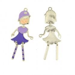 Pendentif breloque Jeune Fille aux chaussettes violettes, argenté