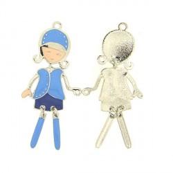 Pendentif breloque Jeune Fille avec tailleur bleu, argenté