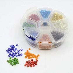 Boite 8 compartiments Perles de rocailles transparentes avec liseré - 4 mm
