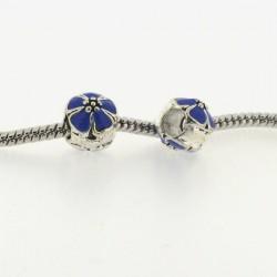 Métal Fleur ronde émail bleu style Pandora - à l'unité