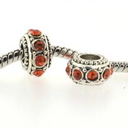 Métal Rondelle strass orange style Pandora - à l'unité