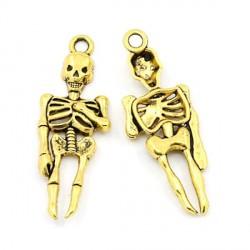 Pendentif breloque en métal Squelette, doré