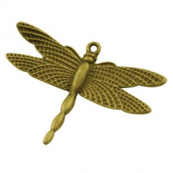 Pendentif breloque en métal Libellule, doré