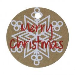 Etiquette Rond Merry Christmas papier cartonné