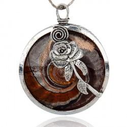 Pendentif breloque Médaillon brun rond à la rose, argenté