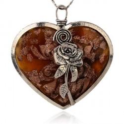 Pendentif breloque Médaillon brun Coeur à la rose, argenté