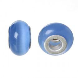 Perle de verre oeil de chat bleu style Pandora - à l'unité
