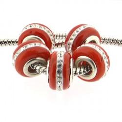 Perle de verre rouge aux strass style Pandora - à l'unité