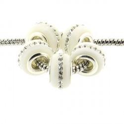 Perle de verre blanche aux strass style Pandora - à l'unité