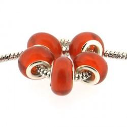 Perle de verre rouge vif style Pandora - à l'unité
