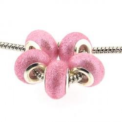 Perle de verre rose pailletté style Pandora - à l'unité