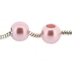 Perle ronde acrylique rose 10mm style Pandora - à l'unité