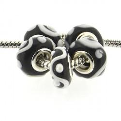 Perle de verre noire guirlande blanche style Pandora - à l'unité