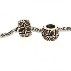 Métal Feuille strass rouge style Pandora - à l'unité