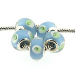 Perle de verre turquoise aux ronds style Pandora - à l'unité