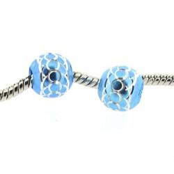 Perle ronde aluminium turquoise style Pandora - à l'unité