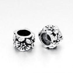 Métal perle ronde Fleurs style Pandora - à l'unité