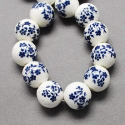 Perle de verre porcelaine Bleue foncée, 10 mm