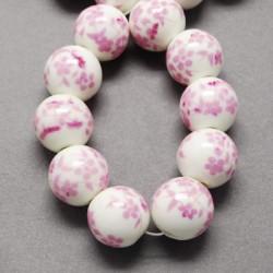 Perle de verre porcelaine rose, 10 mm