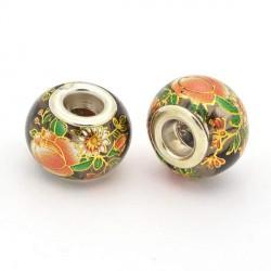 Perle de verre marron chinoise fleurs peintes style Pandora - à l'unité