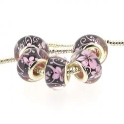Perle en résine noire fleurs roses style Pandora - à l'unité