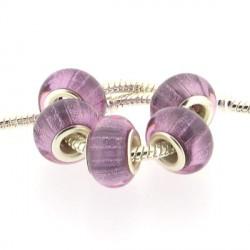 Perle en résine rose bandes scintillantes style Pandora - à l'unité