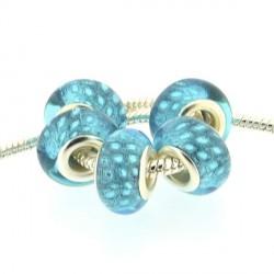 Perle en résine bleu turquoise Plumes de paon style Pandora - à l'unité