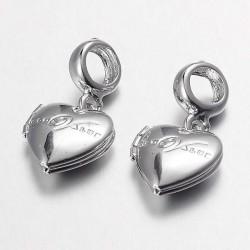 Métal charm pendentif Médaillon Coeur style Pandora - à l'unité
