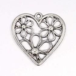 Pendentif breloque en métal Coeur ajouré fleurs